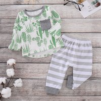 2-piece Fresh Cactus Patterned Chest Pocket Top and Striped Pants Set