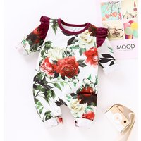 Pretty Floral Print Ruffled Long-sleeve Jumpsuit for Baby Girl