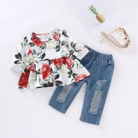 Sassy Floral Long-sleeve Top and Jeans Set