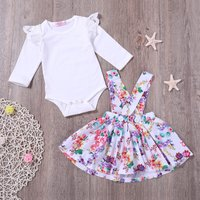 2-piece Solid Lace Design Bodysuit and Flower Allover Suspender Dress Set