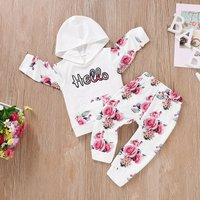 Beautiful Floral Letter Appliqued Hoodie and Pants Set
