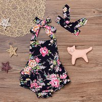 Beautiful Floral Ruffled Bodysuit and Headband for Baby