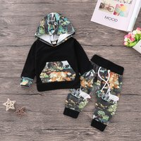 Trendy Forest and Dino Print Hoodie and Pants Set