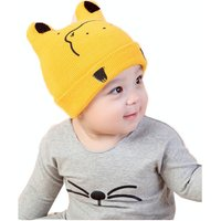 Cute Bear Pattern Ribbed Cotton Hat for Baby Boy