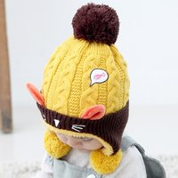 Lovely Knitted Cat Design Hat With Pompom Ear Flaps for Baby and Toddler