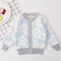 Sweet Flower Patterned Long-sleeve Cardigan for Baby Girl