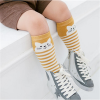 Soft Cartoon Cat Striped Knee High Socks for Baby and Toddler