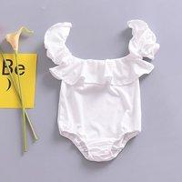 Trendy Solid Ruffled Off-shoulder Short-sleeve Bodysuit in White for Baby Girl