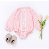 Stylish Lace Design Long-sleeve Romper in Pink for Baby Girl