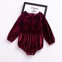Pretty Solid Velvet Long-sleeve Romper for Baby Girl