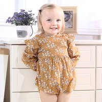 Pretty Floral Printed Ruffled Long-sleeve Bodysuit for Baby