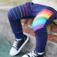 Stylish Rainbow Print Splice cuff Pants