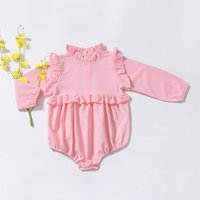 Beautiful Ruffled Design Long-sleeve Bodysuit for Baby