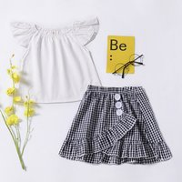 Baby/ Toddler Girl's Flutter-sleeve Top and Plaid Skirt