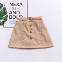 Toddler / Girl Solid High-waist Button Decor Skirt