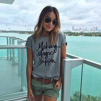 Casual Letters Print Short Sleeves Tee in Grey for Women