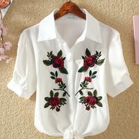 Fashionable Embroidered Half-sleeve Shirt
