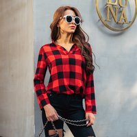 Fashionable Plaid V Neck Long-sleeve Shirt