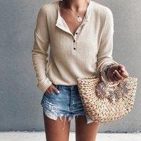 Stylish Solid Long-sleeve Knitwear