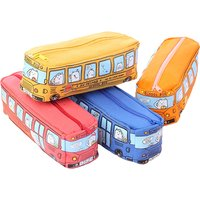 Trendy Bus and Cartoon Print Pencil Case