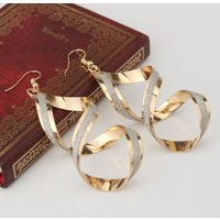 1-pair Spiral Cross Frosted Earrings
