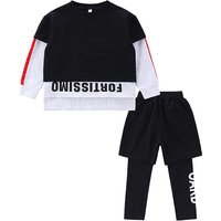 2-piece Sporty Letters Print Hi-low Long-sleeve Top and Pants for Boys