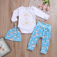 3-piece Lovely Letter Print Long-sleeve Bodysuits, Rainbow Patterned Pants and Hat Set for Baby