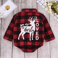 """Chic """"You're so deeply loved"""" Elk Print Plaid Bodysuit for Baby"""