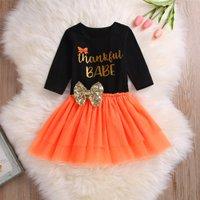 Comfy THANKSGIVING Letter Print Bodysuit and Tulle Skirt Set