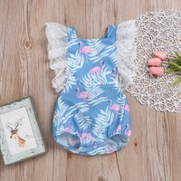 Chic Flamingo Print Lace Ruffled Romper for Baby