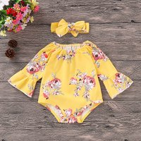 Trendy Floral Print Off Shoulder Flare-sleeve Bodysuit and Headband for Baby