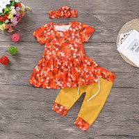 Pretty 3-piece Floral Print Tee, Splice Pants and Headband Set in Orange