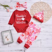 4-piece Lovely Letter Heart Print Bodysuit, Color Blocked Pants, Pointy Hat and Bow Headband Set