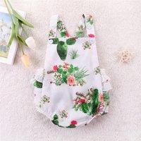 Lovely Cactus Floral Backless Bodysuit for Baby Girl