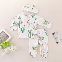 3-piece Lovely Cactus Alpaca Print Long-sleeve Set for Baby