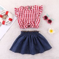 Pretty Plaid Bow Ruffle-sleeve Top and Skirt Set for Baby and Toddler Girl