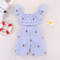 Pretty Striped Embroidered Flower Crop Top and Shorts Set for Baby and Toddler Girl