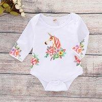 Fashionable Unicorn Print Long-sleeve Bodysuit for Baby Girl