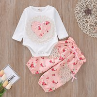 Pretty Heart Lace Decor Long-sleeve Bodysuit and Pants Set for Baby