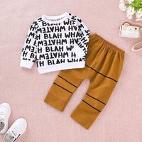 Trendy Letter Print Striped Long-sleeve Top and Pants for Baby and Toddler