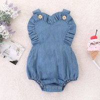 Pretty Solid Crisscross Ruffled Denim Bodysuit