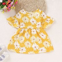 Elegant Ruffled Floral Allover Short-sleeve Dress