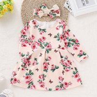 Baby/ Toddler Girl's Rose Allover Dress and Bow Headband