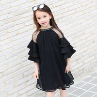 Graceful Round Collar Ruffle Short-sleeve Dress for Toddler Girls and Girls