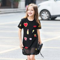 Fashion Heart Applique Short Sleeve Dress for Toddler Girls and Girls