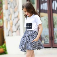 Chic Letters Print Short Sleeve Top and Striped Pantskirt Set for Girls