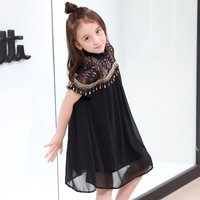 Fashionable Lace Ethnic Braided Tassel Decor Short-sleeve Dress for Girl