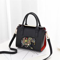 Stylish Elephant Embroidered Crossbody Shoulder Bag