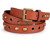 Retro Rivet Leather Belt in Brown
