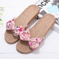 Beautiful Flower Print Bow Decor Slippers for Women